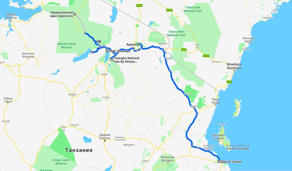 Танзания карта